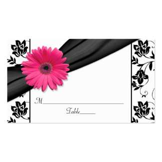 Pink Daisy Black White Floral Wedding Place Cards Double-Sided Standard Business Cards (Pack Of 100)