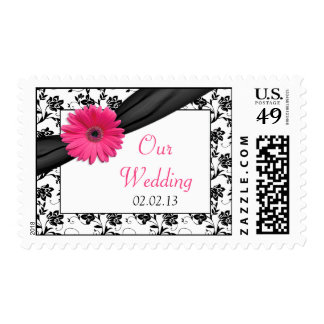 Pink Daisy Black White Floral Wedding Postage