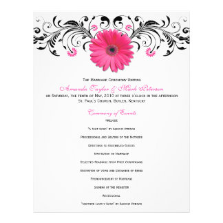Pink Daisy Black White Floral Wedding Program