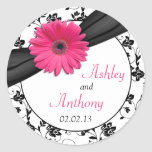 Pink Daisy Black White Floral Wedding Stickers