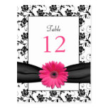 Pink Daisy Black White Floral Wedding Table Card