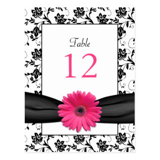 Pink Daisy Black White Floral Wedding Table Card Postcard