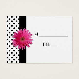 Pink Daisy Black White Polka Dot  Place Card