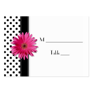 Pink Daisy Black White Polka Dot  Place Card Large Business Card