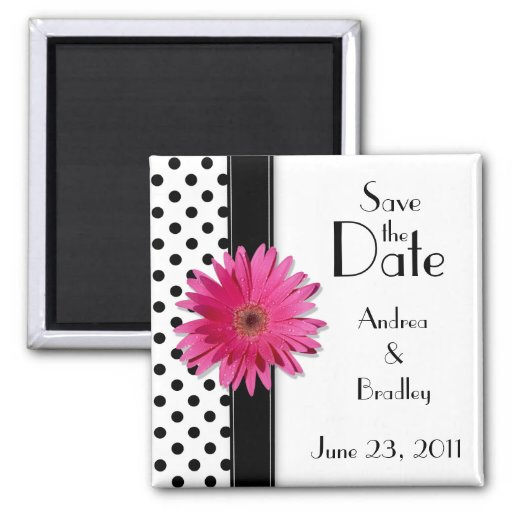 Pink Daisy Black White Polka Dot Save the Date 2 Inch Square Magnet