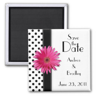 Pink Daisy Black White Polka Dot Save the Date Magnet