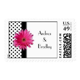 Pink Daisy Black White Polka Dot Wedding Postage