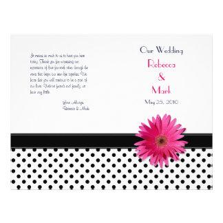 Pink Daisy Black White Polka Dot Wedding Program