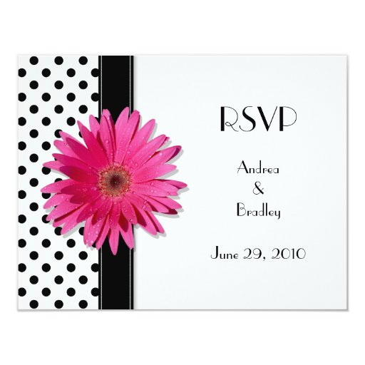 Pink Daisy Black White Polka Dot Wedding RSVP 4.25x5.5 Paper Invitation Card