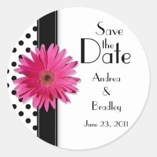 Pink Daisy Black White Polka Dot Wedding Sticker