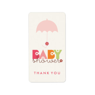 Pink Daisy Blooms Baby Shower Thank You Labels