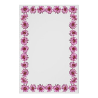 Pink Daisy Border on Blank Background Poster