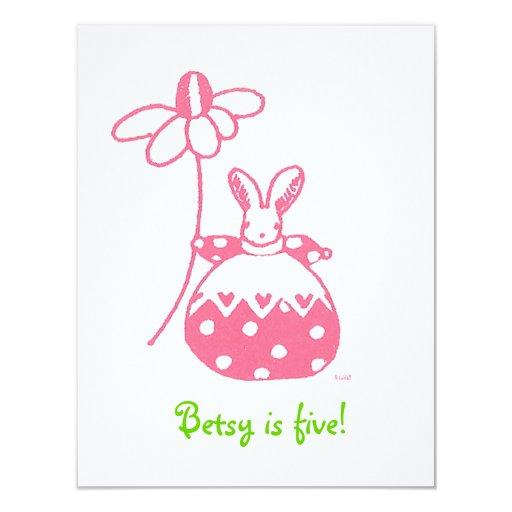 Pink Daisy Bunny birthday invitation