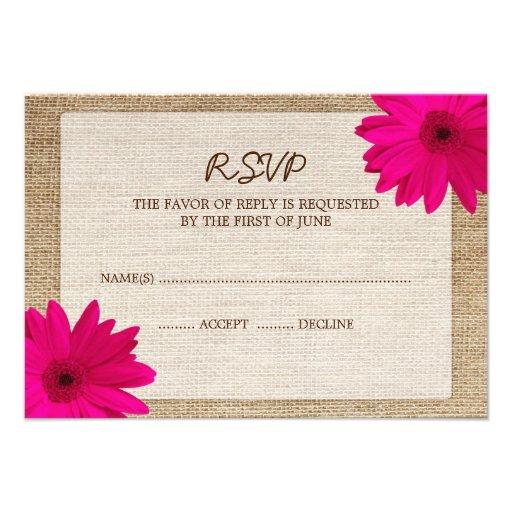 Pink Daisy Burlap Wedding RSVP Response Card