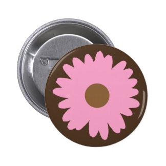 Pink Daisy Button Flair