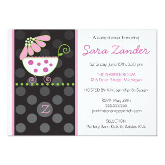 Pink Daisy Carriage Baby Shower Invitation