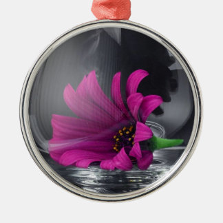 Pink Daisy Closeup In A Wine Glass Metal Ornament