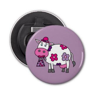 Pink Daisy Cow Bottle Opener