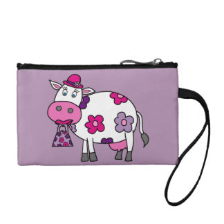 Pink Daisy Cow Change Purse