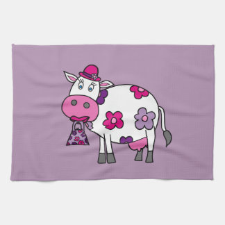 Pink Daisy Cow Hand Towel