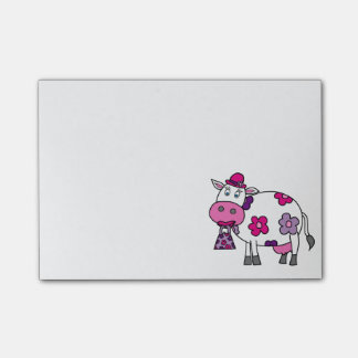 Pink Daisy Cow Post-it Notes