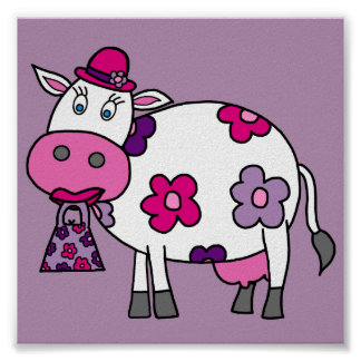 Pink Daisy Cow Poster