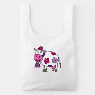 Pink Daisy Cow Reusable Bag