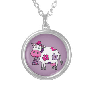 Pink Daisy Cow Silver Plated Necklace