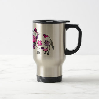 Pink Daisy Cow Travel Mug