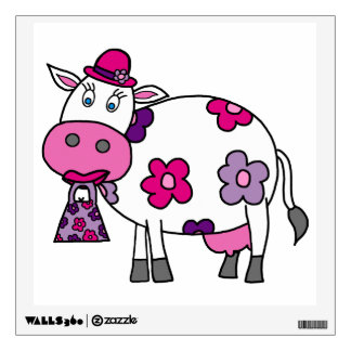 Pink Daisy Cow Wall Sticker