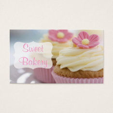 Pink Daisy Cupcake Bakery Business Card at Zazzle