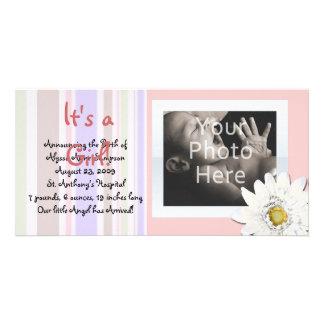 Pink Daisy Custom Photo Card Baby Announcement
