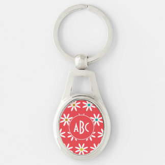 Pink Daisy Dots Monogram Key Chains