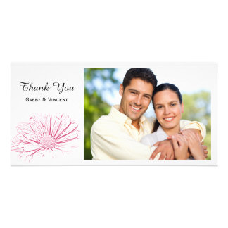 Pink Daisy Effect Floral Thank You Card