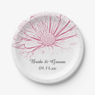 Pink Daisy Effect Floral Wedding Paper Plate