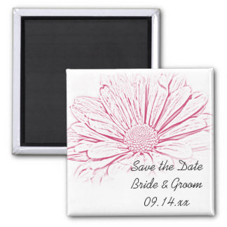 Pink Daisy Effect Floral Wedding Save the Date 2 Inch Square Magnet
