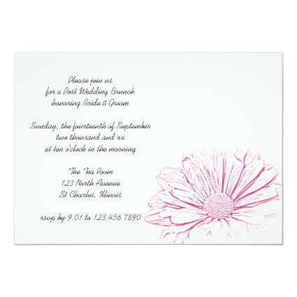 "Pink Daisy Effect Post Wedding Brunch 5"" X 7"" Invitation Card"