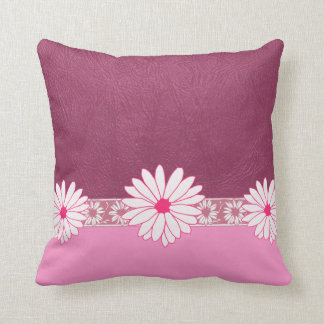 Pink Daisy Faux Leather Throw Pillow