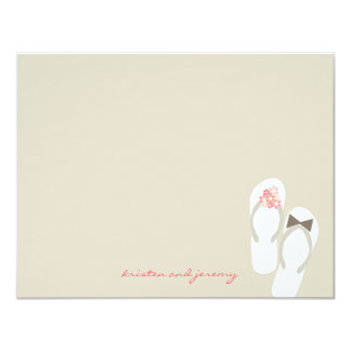 Pink Daisy Flip Flops Beach Wedding Thank You Card