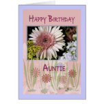 Pink Daisy Floral Bouquet, Auntie, Birthday Cards