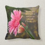 Pink Daisy Floral; Scripture Verse God's Strength Pillow