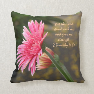 Pink Daisy Floral; Scripture Verse God's Strength Throw Pillow