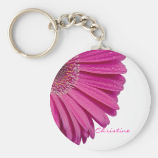 Pink daisy flower custom personalized girls name keychain