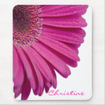 Pink daisy flower custom personalized girls name mouse pad
