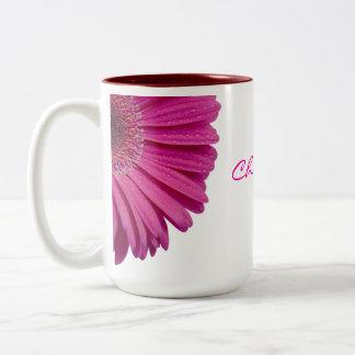 Pink daisy flower custom personalized girls name mugs