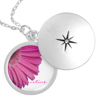 Pink daisy flower custom personalized girls name round locket necklace