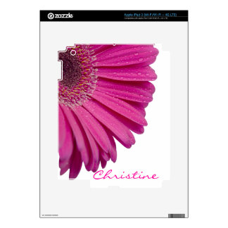 Pink daisy flower custom personalized girls name skins for iPad 3