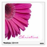 Pink daisy flower custom personalized girls name wall skin