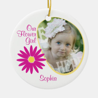 Pink Daisy Flower Girl Photo Double-Sided Ceramic Round Christmas Ornament
