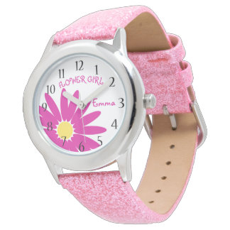 Pink Daisy Flower Girl Wristwatches